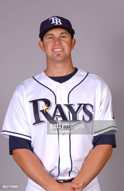 Evan Longoria of the Tampa Bay Rays poses for a portrait during photo day at Progress Energy Park on February 22 2008 in St Petersburg Florida