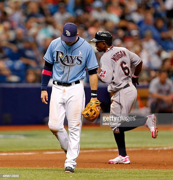 Evan Longoria of the Tampa Bay Rays reacts as Nyjer Morgan of the Cleveland Indians rounds the bases after his home run during the eighth inning of a...