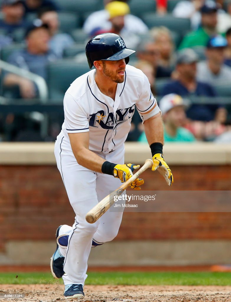 Evan Longoria #3 of the Tampa Bay Rays singles in the eighth inning against the New York Yankees at Citi Field on September 13, 2017 in the Flushing neighborhood of the Queens borough of New York City. The two teams were scheduled to play in St. Petersburg, Florida but due to the weather emergency caused by Hurricane Irma, the game was moved to New York, but with Tampa Bay remaining the 'home' team.