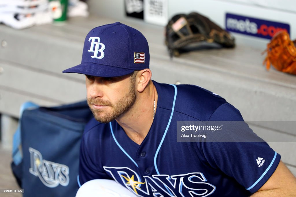 Evan Longoria #3 of the Tampa Bay Rays sits in the dugout ahead of the game against the New York Yankees at Citi Field on Monday, September 11, 2017 in the Queens borough of New York City.