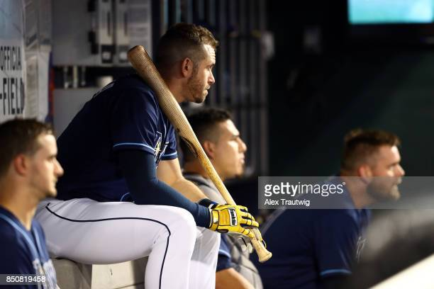 Evan Longoria of the Tampa Bay Rays sits in the dugout ahead of the game against the New York Yankees at Citi Field on Monday September 11 2017 in...