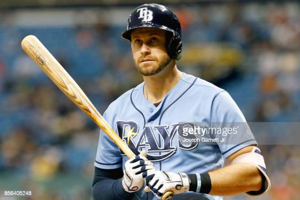 Evan Longoria of the Tampa Bay Rays stands in the batters box during his turn at bat in the game against the Baltimore Orioles at Tropicana Field on...