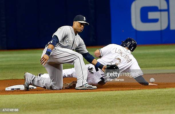 Evan Longoria of the Tampa Bay Rays steals second base ahead of second baseman Robinson Cano of the Seattle Mariners during the seventh inning of a...