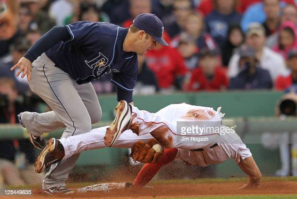 Evan Longoria of the Tampa Bay Rays tags out Jacoby Ellsbury of the Boston Red Sox attempting to steal in the sixth inning at Fenway Park September...