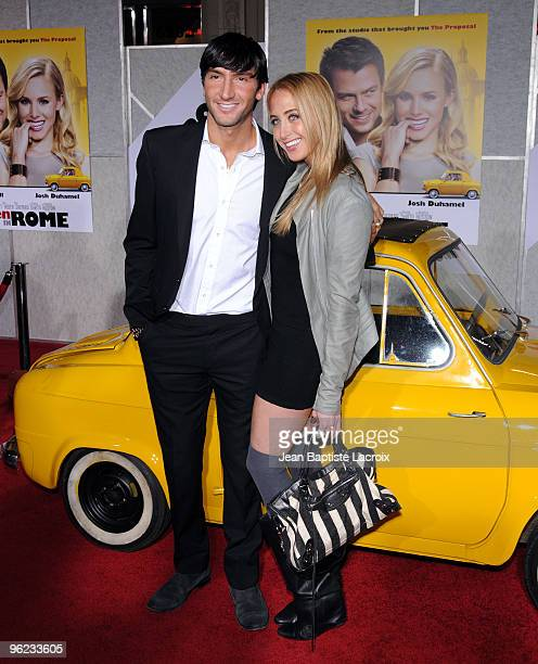 """Evan Lysacek and Amanda Harlib attend the """"When In Rome"""" Los Angeles Premiere at the El Capitan Theatre on January 27, 2010 in Hollywood, California."""