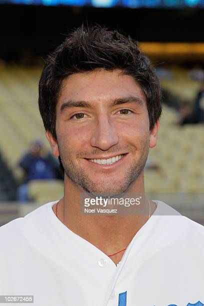 Evan Lysacek attends a game between the Florida Marlins and the Los Angeles Dodgers at Dodger Stadium on July 6 2010 in Los Angeles California
