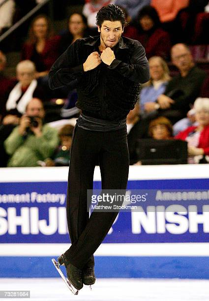 Evan Lysacek competes in the free skate during the ISU Four Continents Figure Skating Championships February 9 2007 in Colorado Springs Colorado...