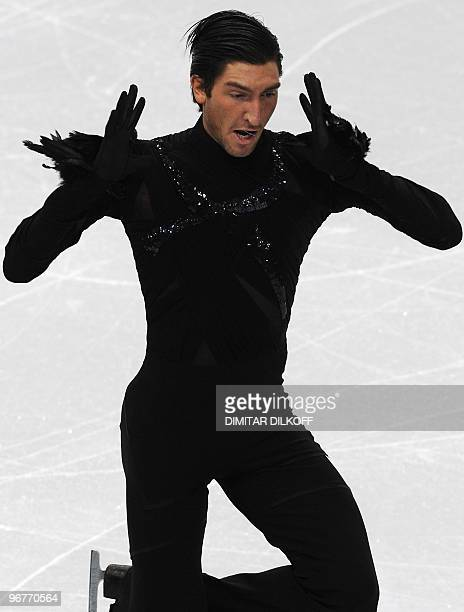 US' Evan Lysacek competes in the men's 2010 Winter Olympics figure skating short program at the Pacific Coliseum in Vancouver on February 16 2010 AFP...