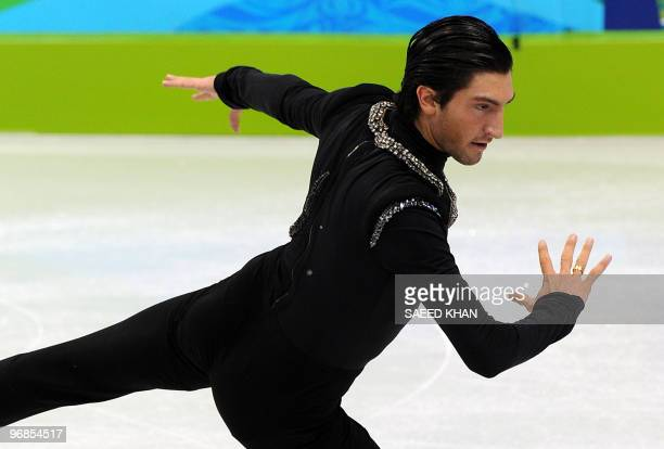 US' Evan Lysacek competes in the Men's Figure Skating free program at the Pacific Coliseum in Vancouver during the XXI Winter Olympics on February 18...