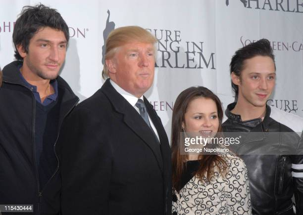 Evan Lysacek Donald Trump Sasha Cohen and Johnny Weir at the 2007 Skating with the Stars Under the Stars at the Wollman Ring Central Park New York...