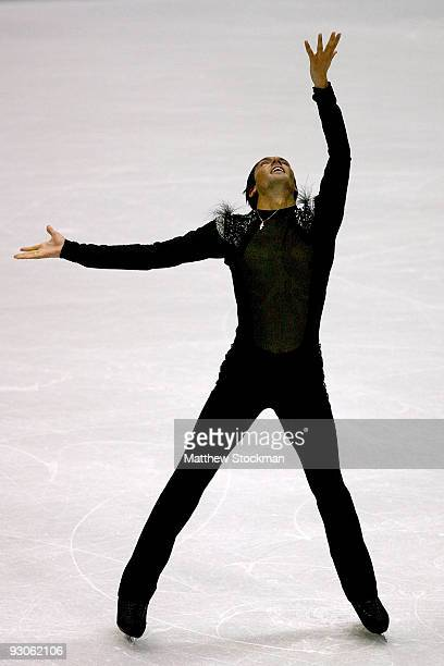 Evan Lysacek finishes his routine in the Free Skate during the CancerNet Skate America at Herb Brooks Arena on November 14 2009 in Lake Placid New...