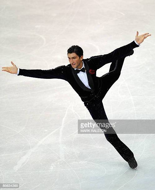 Evan Lysacek from USA performs during the Men Free Skating event of the 2009 World Figure skating Championships at the Staples Center in Los Angeles...