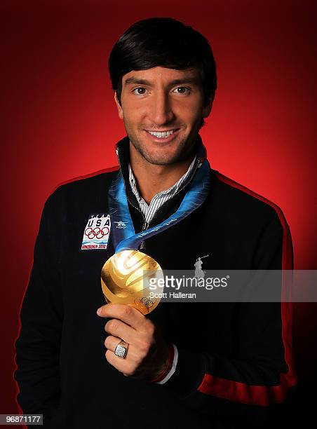 Evan Lysacek gold medal winning figure skater of the United States poses in the NBC Today Show Studio at Grouse Mountain on February 19 2010 in North...