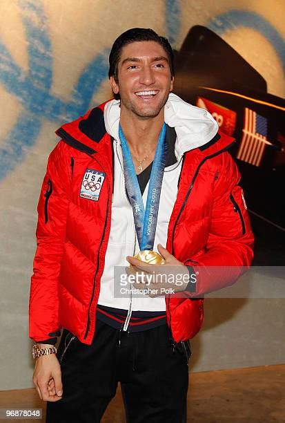 Evan Lysacek of the United States arrives at the USA House with his men's figure skating Olympic gold medal on February 18, 2010 in Vancouver, Canada.