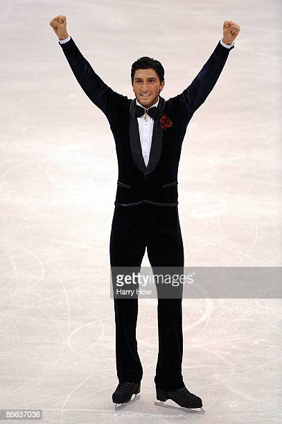 Evan Lysacek of the United States celebrates after his routine in the Men's Free Skate during the 2009 ISU World Figure Skating Championships on...