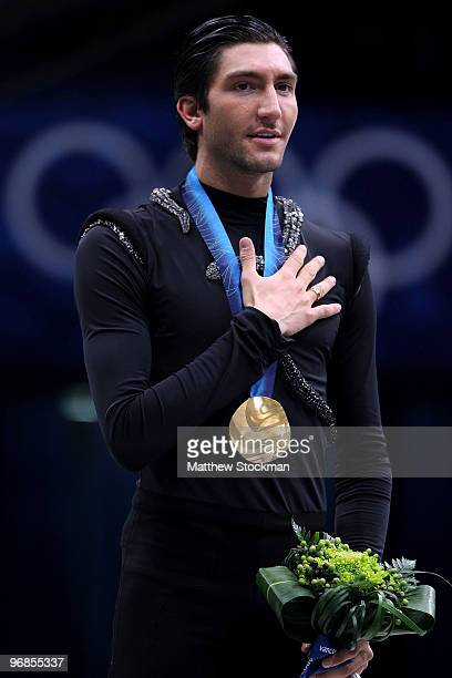 Evan Lysacek of the United States celebrates after winning the gold medal in the men's figure skating free skating on day 7 of the Vancouver 2010...