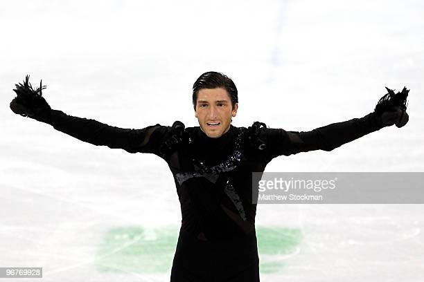 Evan Lysacek of the United States competes in the men's figure skating short program on day 5 of the Vancouver 2010 Winter Olympics at the Pacific...