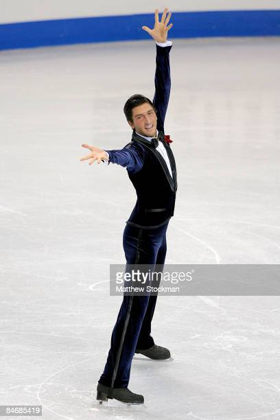 Evan Lysacek of the United States completes his routine in the Mens Free Skate during the ISU Four Continents Figure Skating Championships at Pacific...