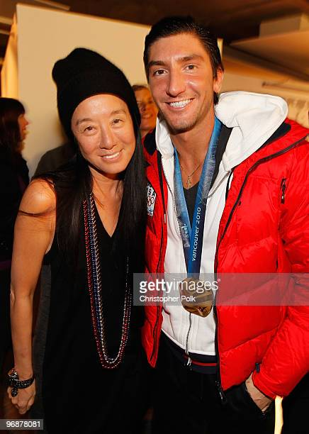 Evan Lysacek of the United States is greeted by fashion designer Vera Wang at the USA House after winning the men's figure skating Olympic gold medal...