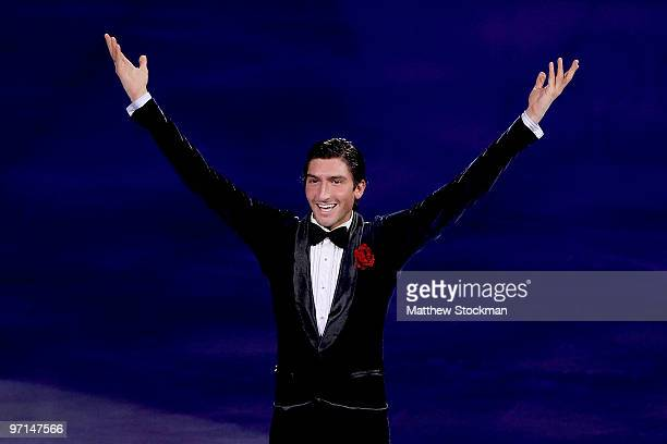 Evan Lysacek of the United States performs at the Exhibition Gala following the Olympic figure skating competition at Pacific Coliseum on February 27...