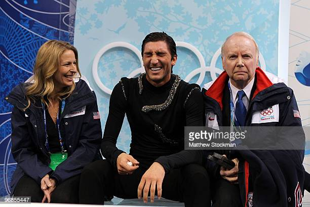 Evan Lysacek of the United States reacts as he sits in the kiss and cry area on the way to winning the gold medal after he competed in the men's...