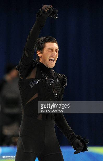 Evan Lysacek of the US celebrates after competing in the men's 2010 Winter Olympics figure skating short program at the Pacific Coliseum in Vancouver...