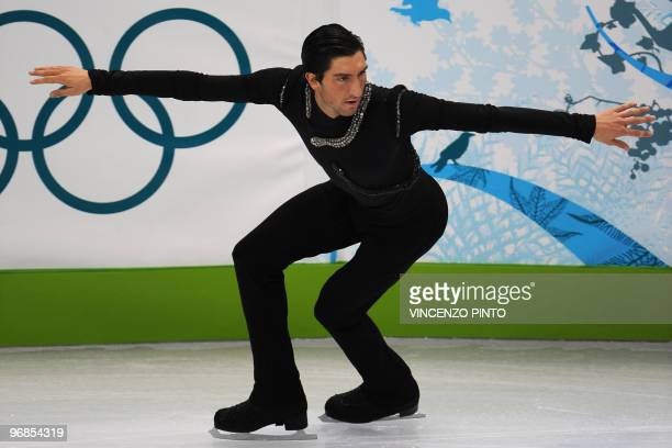 Evan Lysacek of the US performs in the men's 2010 Winter Olympics figure skating free program at the Pacific Coliseum in Vancouver on February 18...