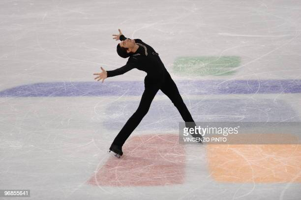 Evan Lysacek of the US performs in the men's 2010 Winter Olympics figure skating free program at the Pacific Coliseum in Vancouver, on February 18,...