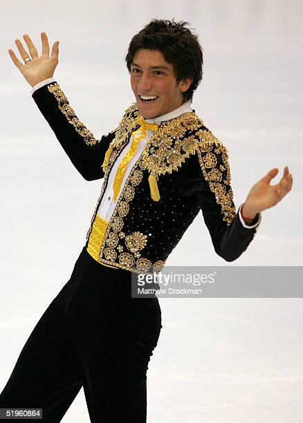 Evan Lysacek reacts at the end of his men's short program during the State Farm US Figure Skating Championships at the Rose Garden on January 13 2005...
