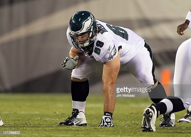 Evan Mathis of the Philadelphia Eagles in action against the Baltimore Ravens during their pre season game on August 11 2011 at Lincoln Financial...