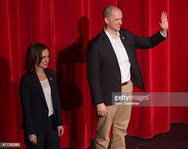 Evan McMullin of Utah an independent candidate for president of the United States with running mate Mindy Finn of Texas speaks to approximately 600...
