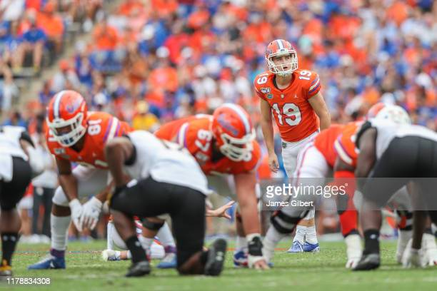 Evan McPherson of the Florida Gators in action during a game against the Towson Tigers at Ben Hill Griffin Stadium on September 28 2019 in...