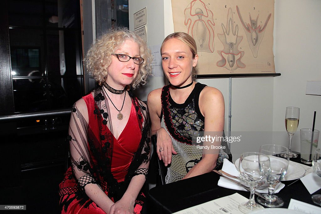 Evan Michelson, Board member and Star of TV's Oddities poses with Actress/designer Chloe Sevigny at the 2015 Morbid Anatomy Museum gala on April 21, 2015 in the Brooklyn borough of New York City.