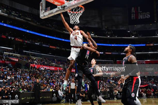 Evan Mobley of the Cleveland Cavaliers drives to the basket against the LA Clippers on October 27, 2021 at STAPLES Center in Los Angeles, California....
