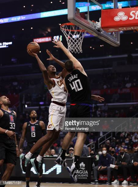 Evan Mobley of the Cleveland Cavaliers takes a shot against Ivica Zubac of the LA Clippers in the first quarter at Staples Center on October 27, 2021...