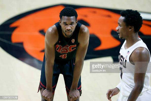 Evan Mobley of the USC Trojans looks on during the first half against the Oregon State Beavers at Gill Coliseum on January 19, 2021 in Corvallis,...