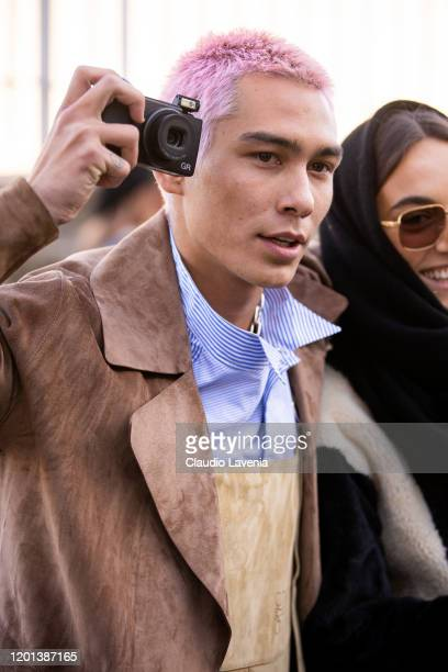 Evan Mock beauty detail is seen outside the Loewe show during the Paris Fashion Week Menswear F/W 20202021 on on January 18 2020 in Paris France