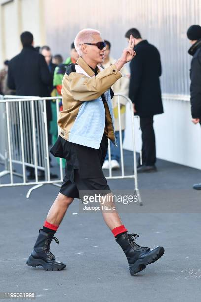 Evan Mock is seen at the Prada fashion show on January 12 2020 in Milan Italy