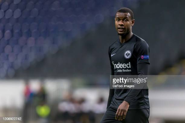 Evan N Dicka of Eintracht Frankfurt Looks on during the UEFA Europa League round of 16 first leg match between Eintracht Frankfurt and FC Basel at...