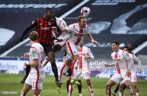 Evan Ndicka of Eintracht Frankfurt scores their side's second goal during the Bundesliga match between Eintracht Frankfurt and 1. FC Koeln at...