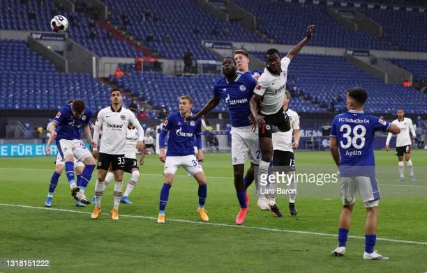 Evan Ndicka of Eintracht Frankfurt scores their side's second goal during the Bundesliga match between FC Schalke 04 and Eintracht Frankfurt at...