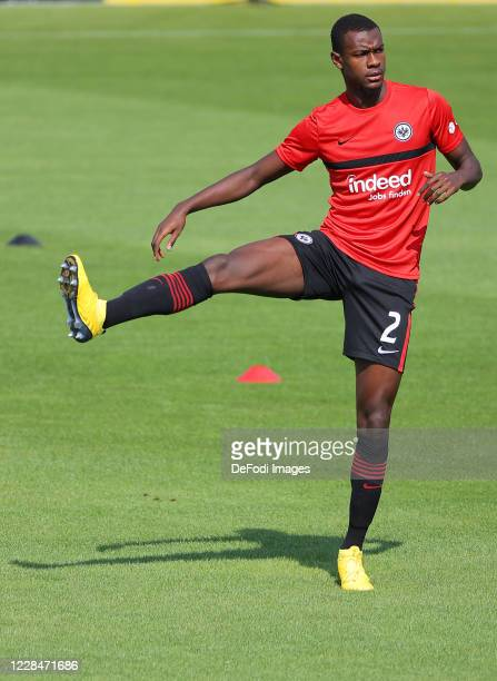 Evan Ndicka of Eintracht Frankfurt warm up prior to the DFB Cup first round match between TSV 1860 Muenchen and Eintracht Frankfurt at Stadion an der...