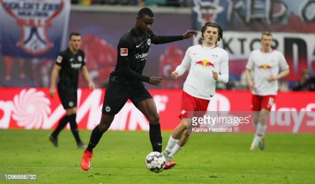 Evan N'Dicka of Frankfurt on the ball during the Bundesliga match between RB Leipzig and Eintracht Frankfurt at Red Bull Arena on February 09, 2019...