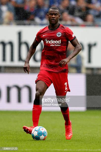 Evan N'Dicka of Frankfurt runs with the ball during the Bundesliga match between DSC Arminia Bielefeld and Eintracht Frankfurt at Schueco Arena on...