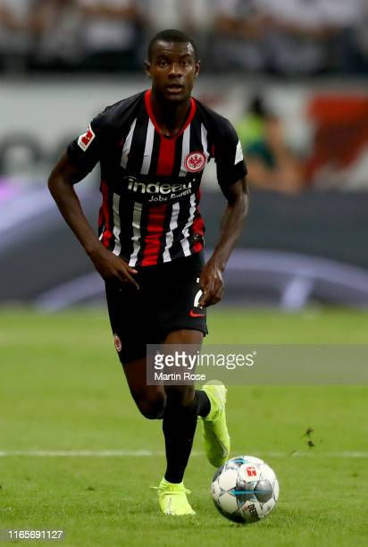 Evan N'Dicka of Frankfurt runs with the ball during the UEFA Europa League Second Qualifying Round 2nd Leg match between Eintracht Frankfurt and FC...