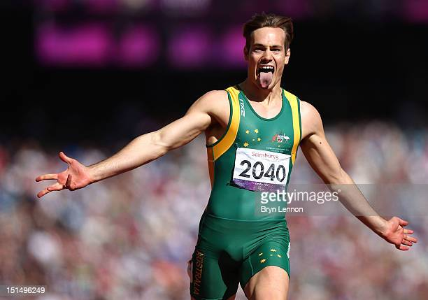 Evan O'Hanlon of Australia celebrates as he wins gold in the Men's 200m T38 Final on day 10 of the London 2012 Paralympic Games at Olympic Stadium on...