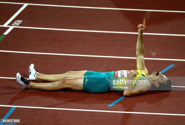 Evan O'Hanlon of Australia celebrates as he wins gold in the Men's T38 100m Final during the Athletics on day five of the Gold Coast 2018...