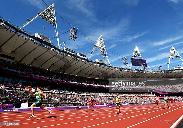 Evan O'Hanlon of Australia races to win gold in the Men's 200m T38 Final on day 10 of the London 2012 Paralympic Games at Olympic Stadium on...