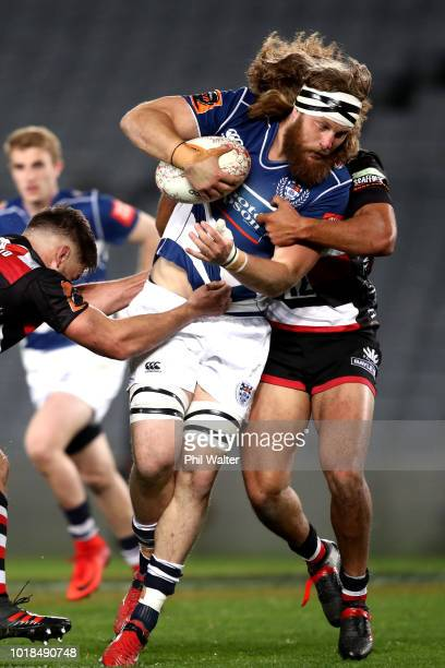 Evan Ormstead of Auckland is tackled during the round one Mitre 10 Cup match between Auckland and Counties Manukau at Eden Park on August 18 2018 in...