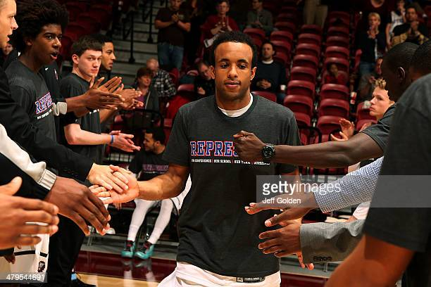 Evan Payne of the Loyola Marymount Lions is introduced before the game against the Pepperdine Waves at Gersten Pavilion on February 20 2014 in Los...